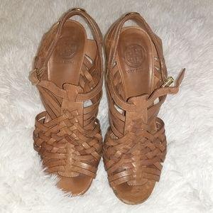Tory Burch Camel Leather Strappy Heels sz 7